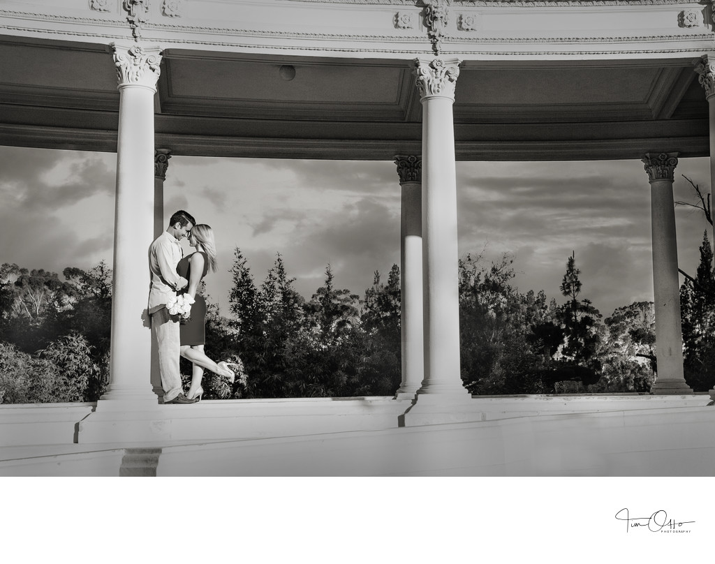 Balboa park engagement photo at the Organ Pavillion
