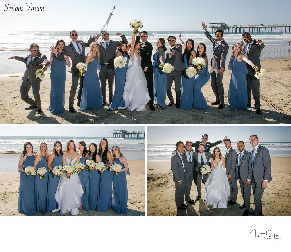 seaside forum bridal party photos with pier