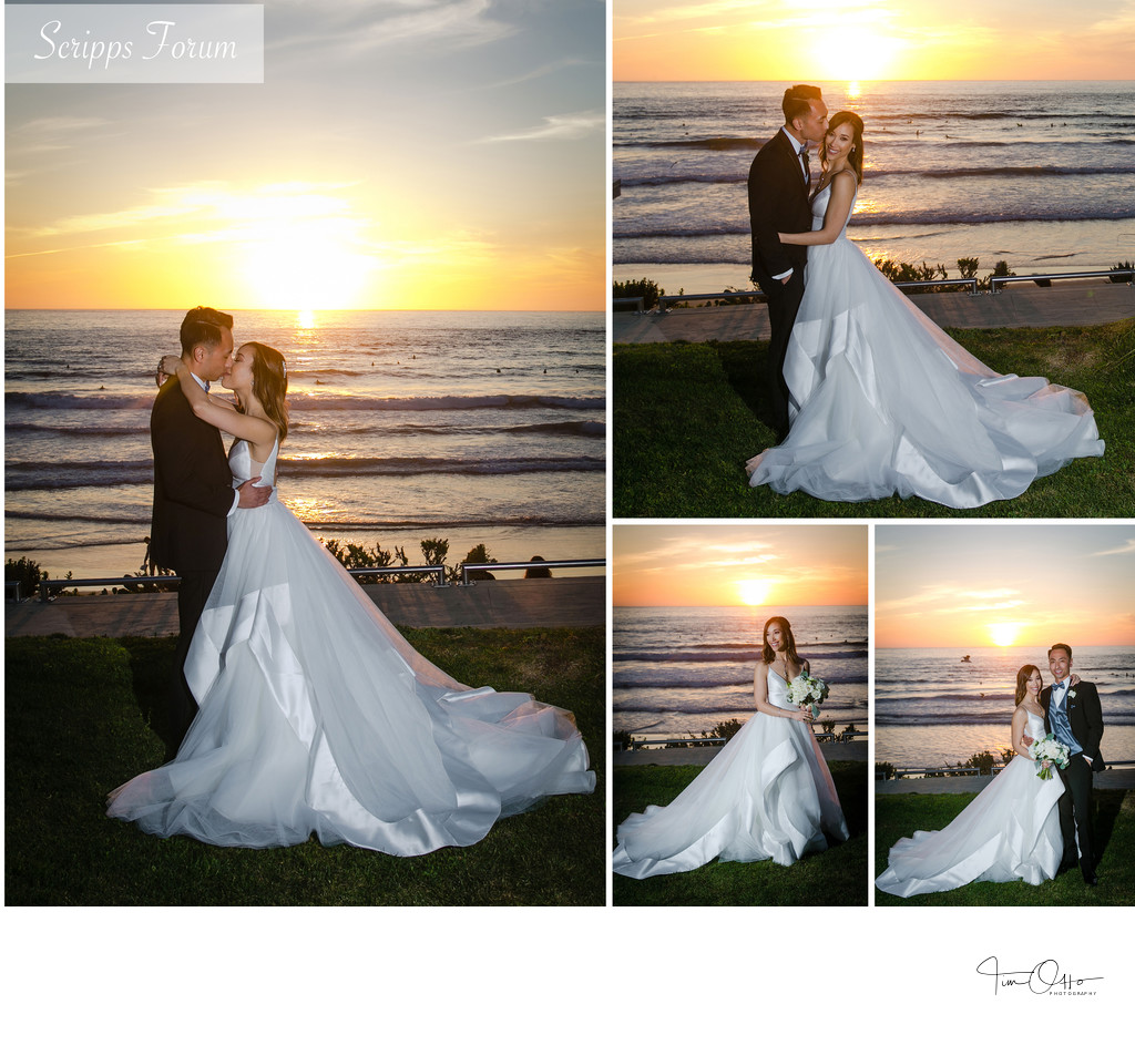 Scripps seaside forum sunset bride and groom