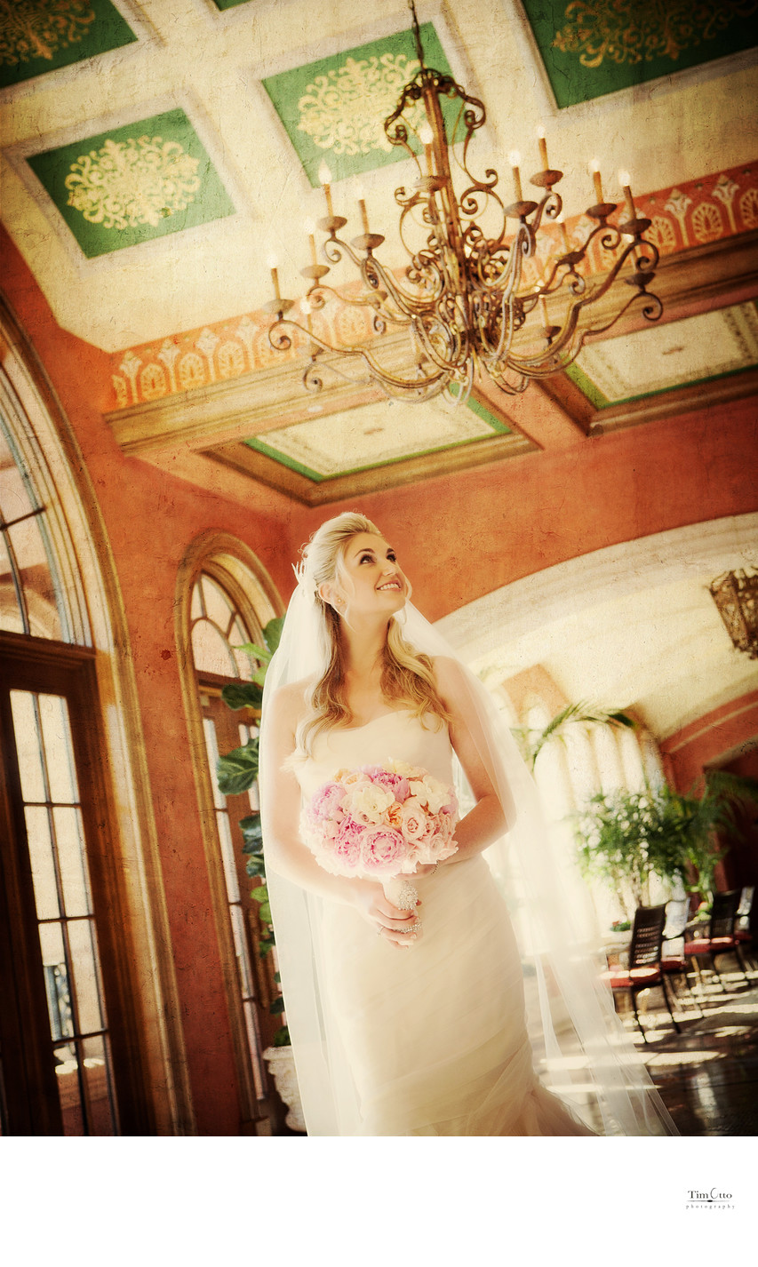 Bride in hallway at the Fairmont Grand Del Mar