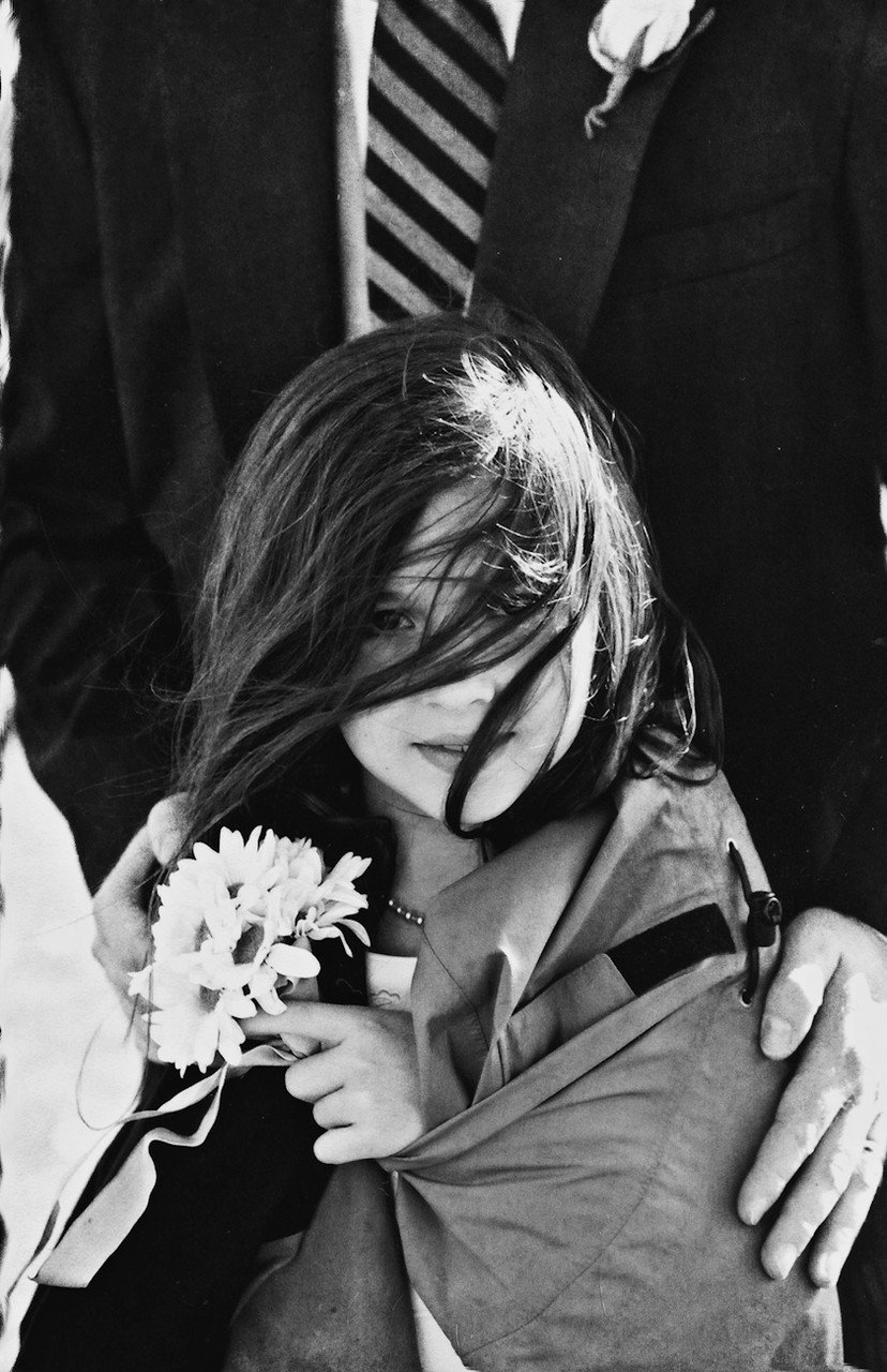 B&W Photo of Flower Girl