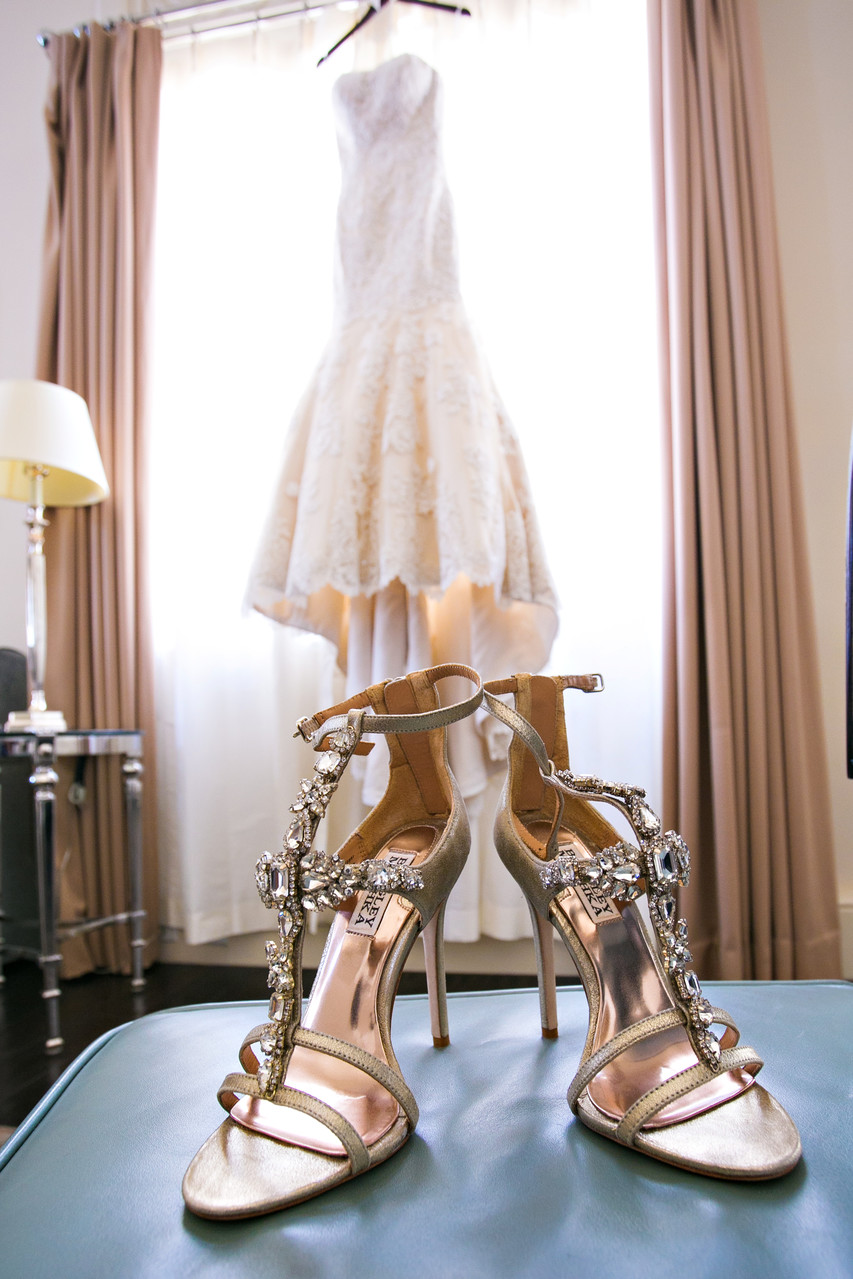 Brides Shoes and Dress at US Grant Hotel