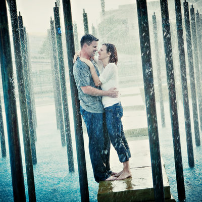 Downtown Fountains Engagement Picture