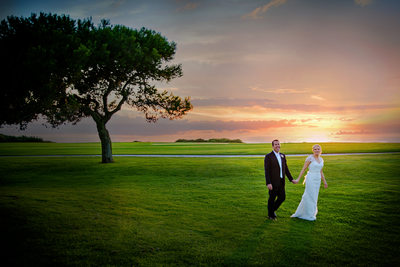 Bride and Groom with Sunset Torry Pines Golf Course