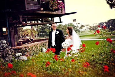 The Lodge at Torrey Pines Bride and Groom with Roses