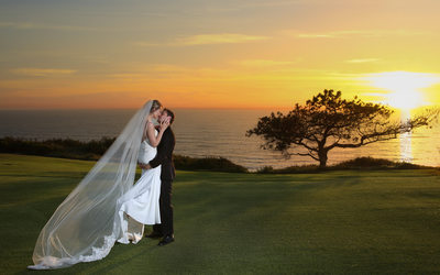 Torrey PInes Sunset of bride and groom