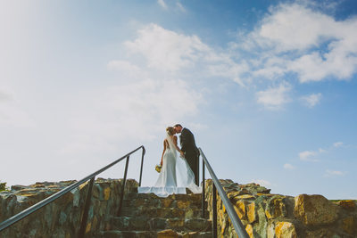Bride and Groom Kiss at Maderas Golf Club