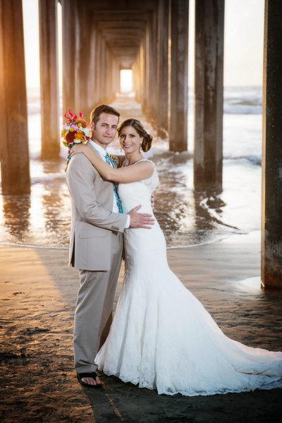 Bride and Groom at Scripps Pier