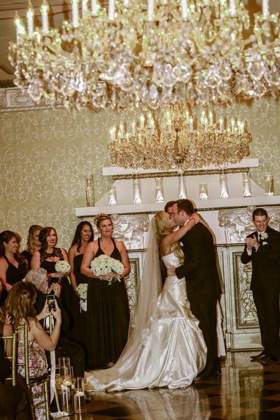Ceremony Kiss in Crystal Ballroom US Grant Hotel