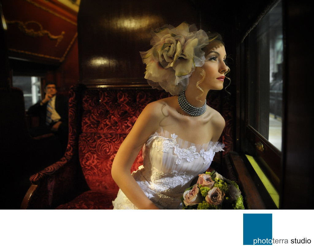 Bride in a Vintage Train