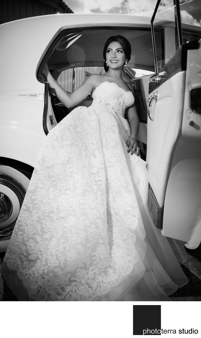 Bride in Antique Car Photo