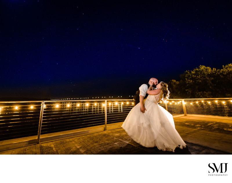 John Wright Restaurant Wedding Bride Groom Portrait Night Stars Sky