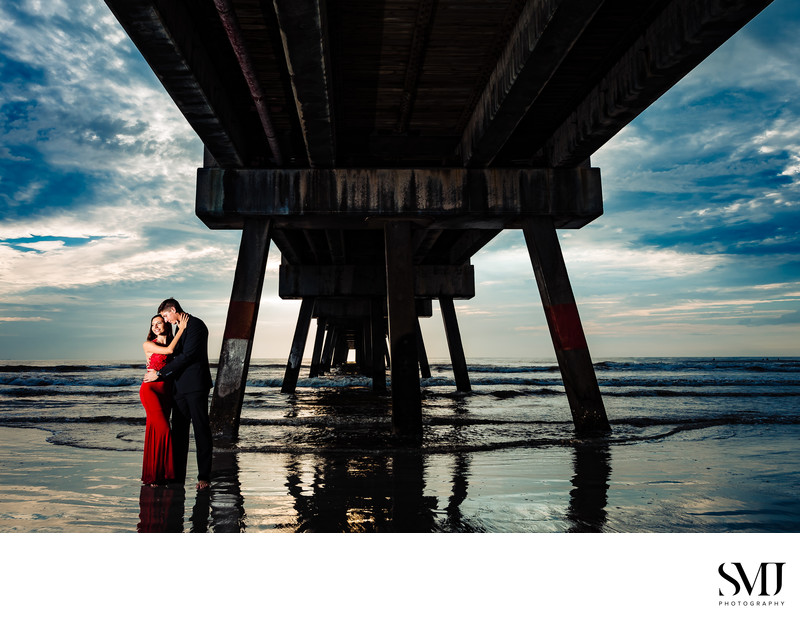 Jacksonville Beach Pier Destination Wedding Photographer Engagement
