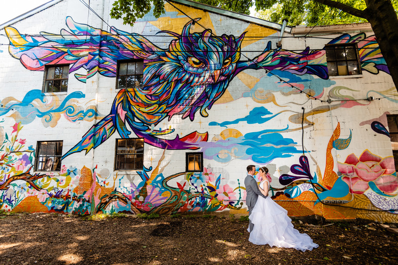 The Bond Wedding York PA Bride Groom Owl Portrait Mural