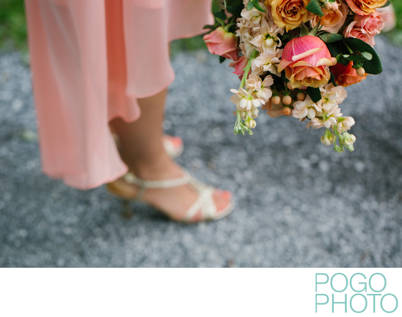 Peach Bridesmaid Dress and Bouquet at Quechee Wedding