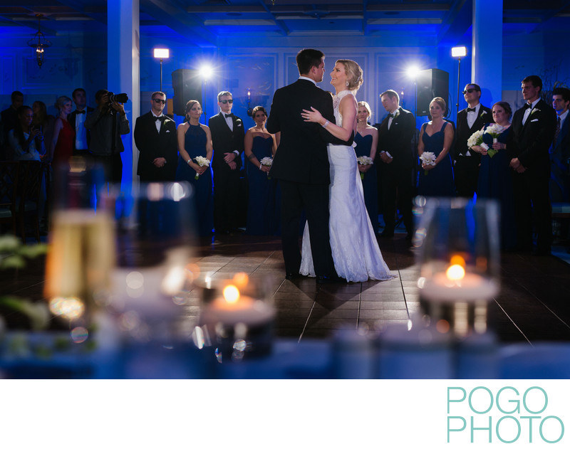 Hillsboro Club First Dance Photo with Blue Uplighting