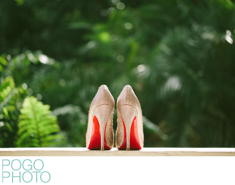 Sparkly Louboutin red soled wedding shoes in Palm Beach