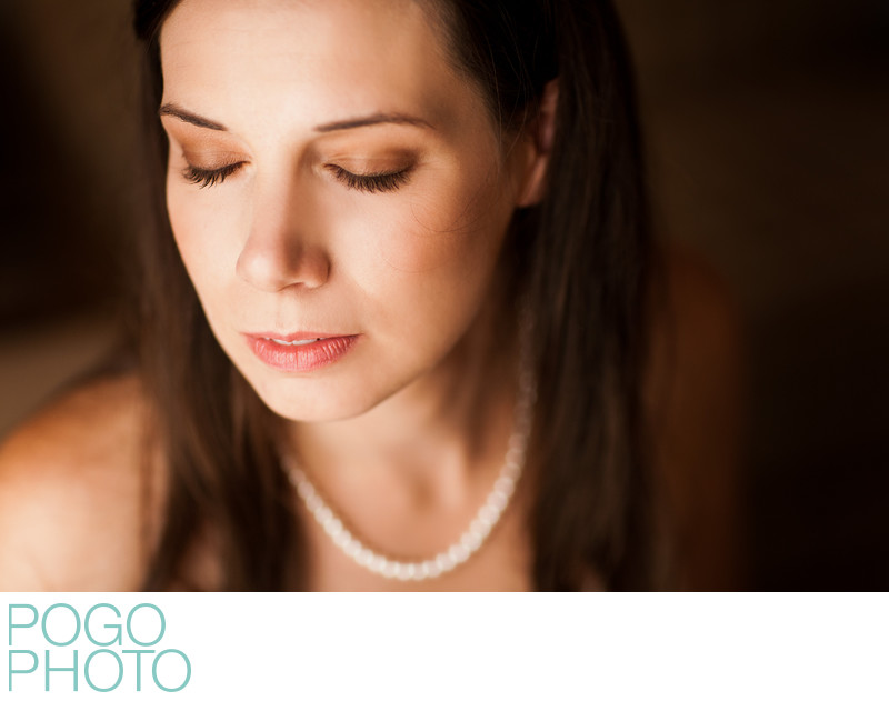 Soft Beauty Portrait of Bride with Heirloom Pearls
