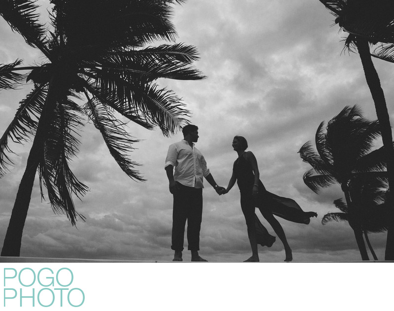Fort Lauderdale Beach Engagement Photography in B&W