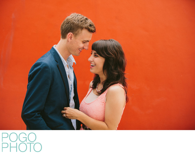 Colorful Miami Engagement Session with Laughing Couple