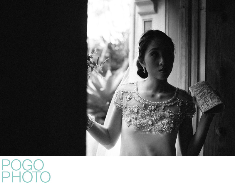 Black and White Image of Bride Leaving For Ceremony