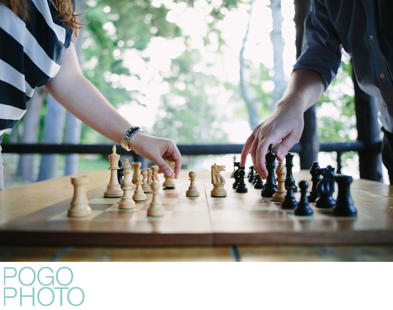 Chess Themed Engagement Session with Grandmaster in VT