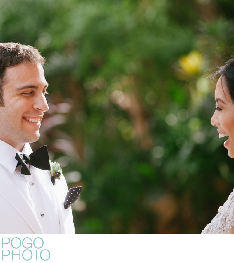 Happy First Look Photo From Miami Destination Wedding