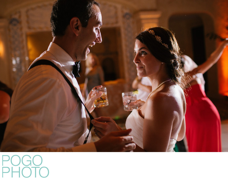 Playful Dance Floor Image of Newlywed Couple in Jupiter