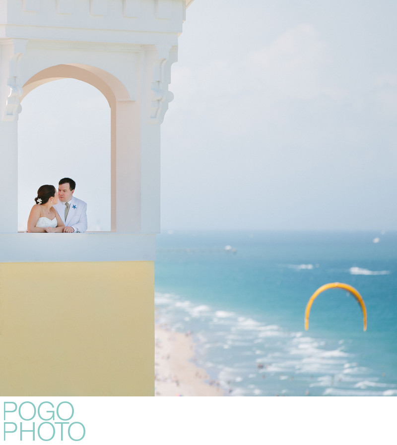 Pelican Grand Beach Resort FTL Wedding With Kitesurfer