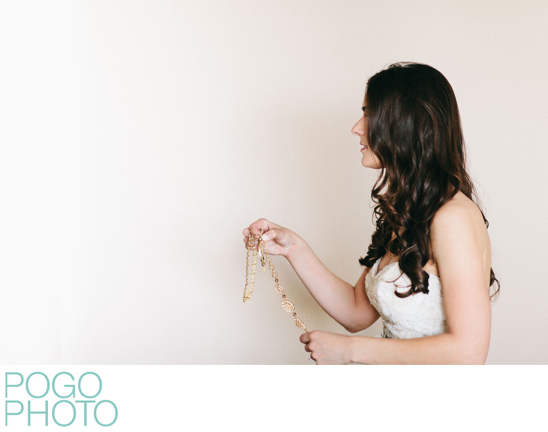 Minimalist Portrait of Bride With Necklace in South FL