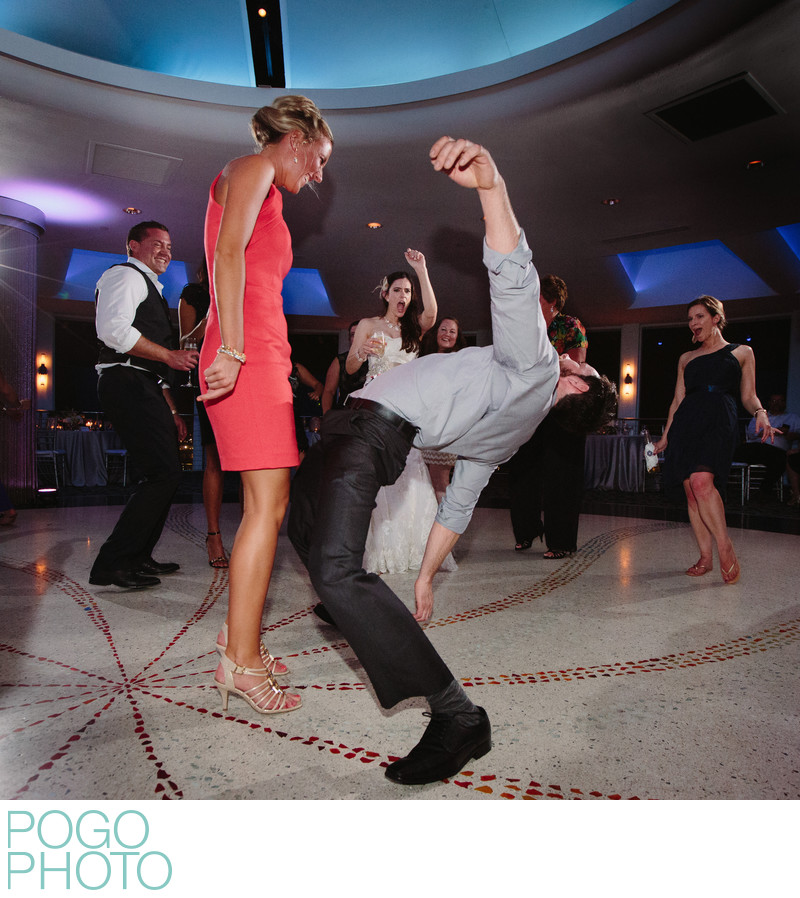Athletic Dance Floor Moves as Bride Cheers at Pier 66