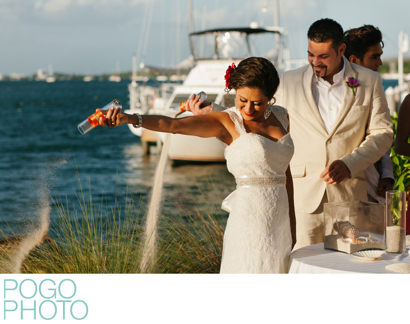 Sand Ceremony with Bright Sunlight in the Florida Keys