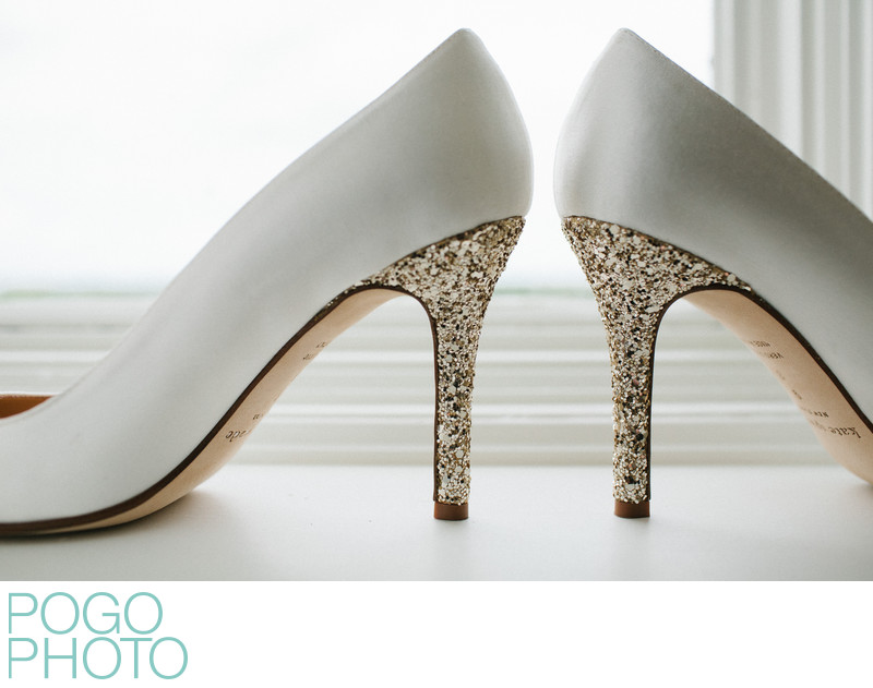 Sparkling Silver Glitter White Kate Spade Wedding Shoes