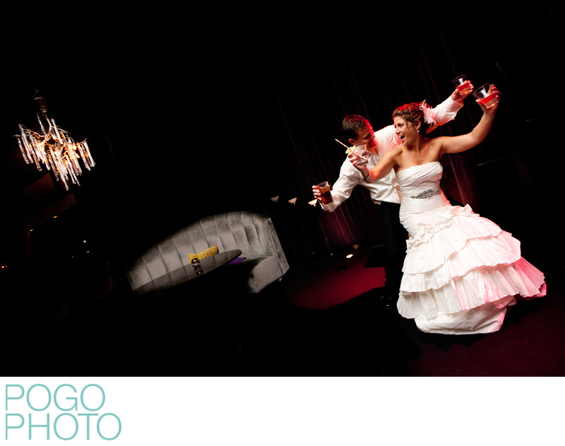 Nightclub Wedding Photographers; Two People Four Drinks