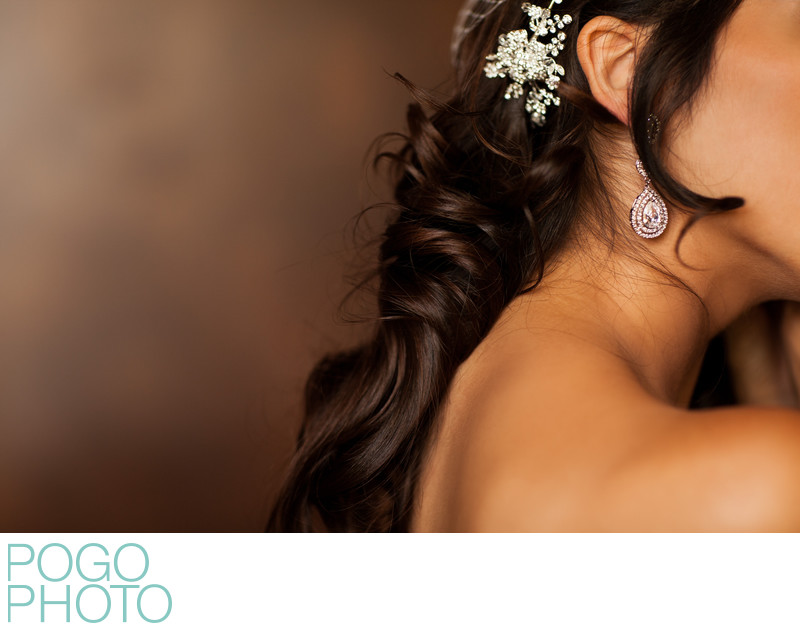 Bridal Hairpiece & Earring Detail Photo, Coconut Grove
