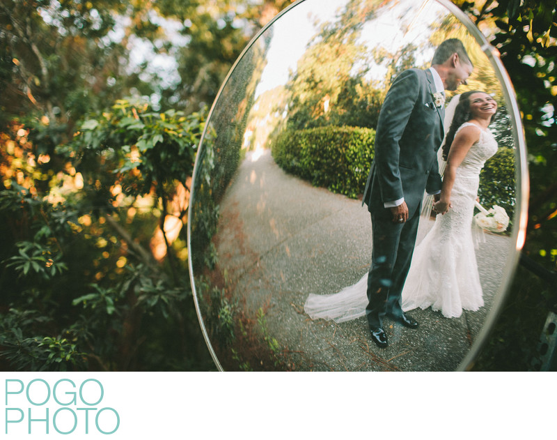 Reflection of Bride and Groom at Golf Course Wedding