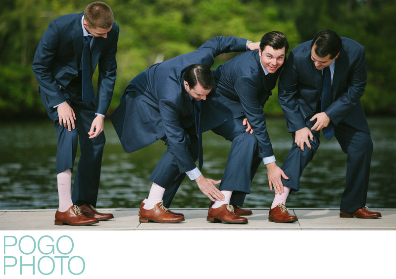 Ridiculous Groomsmen and Pink Socks on Jupiter, FL Dock