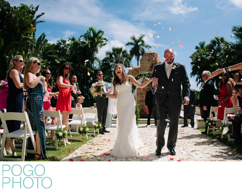 Happy Flower Petal Toss Wedding Exit in West Palm Beach