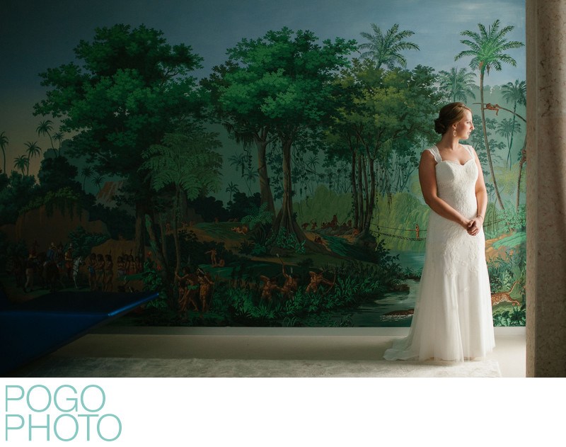Jupiter Photographers at Island Wedding with Wall Mural