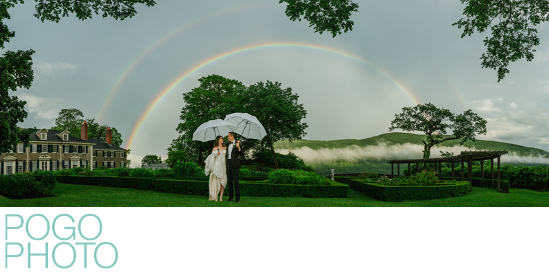 Double Rainbow Wedding Photo after Epic Vermont Storm