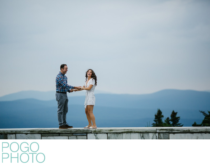 New England Engagement Photographers on Mountaintop