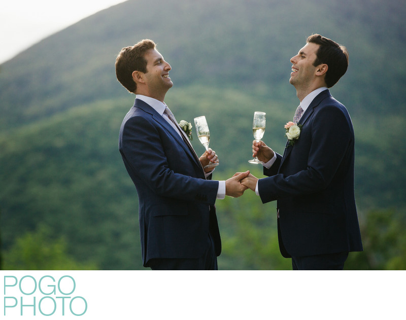 Same Sex Wedding Photographers With Two Happy VT Grooms