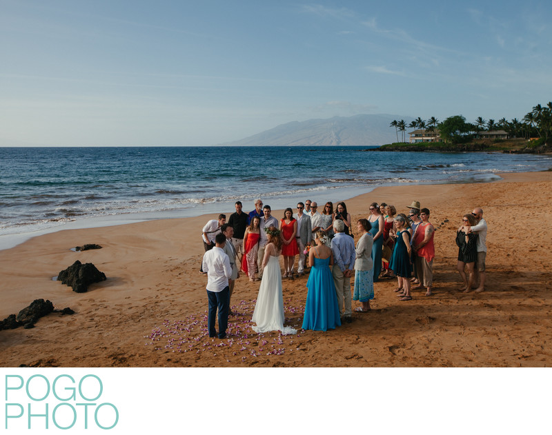 Secluded and intimate beach ceremony on Maui