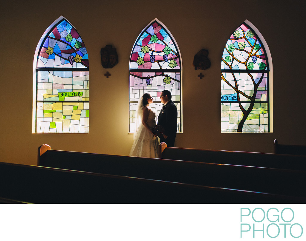 Stained Glass Window Wedding Portraits