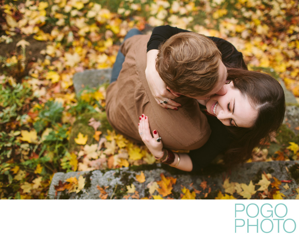 Romantic fall portrait photography in Vermont foliage