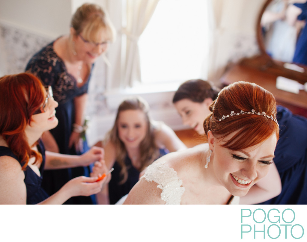 Mother of the Bride and Bridesmaids Help Bride Prep