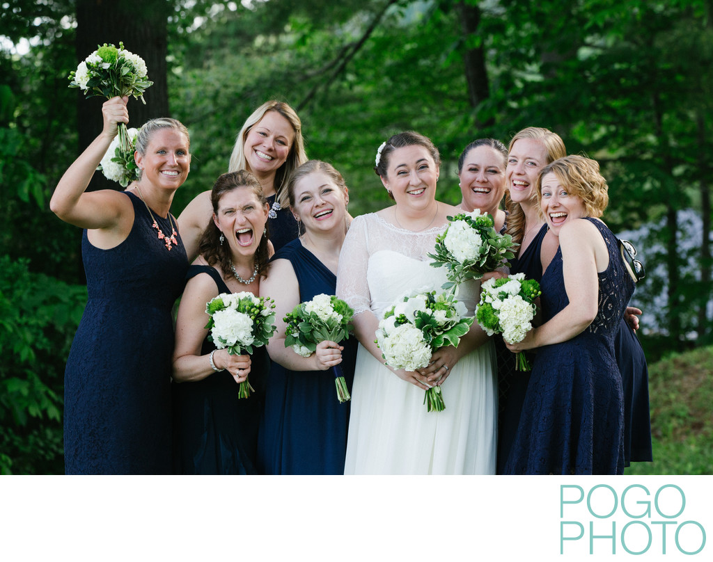 Fun Photos of a Bridal Party in the Vermont Woods