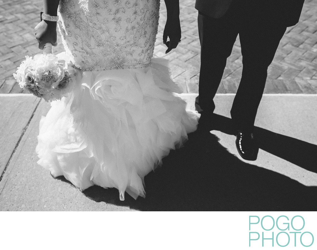 Contrasty Black and White Image from Burlington Wedding