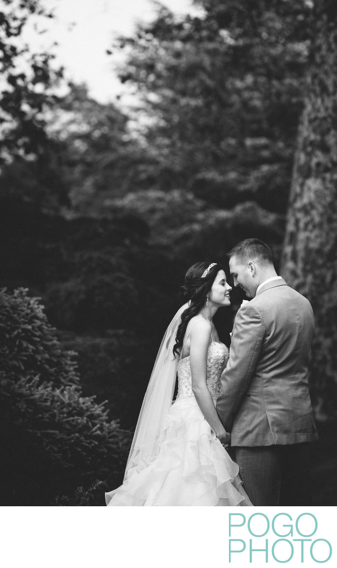 B+W Photograph of Bride + Groom at The Woodstock Inn