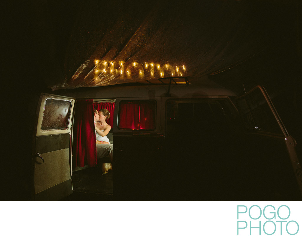 Vermont VW Bus Photo Booth on Rainy Night Reception